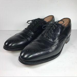 Johnston & Murphy Black Leather Wingtip Shoes 10 C